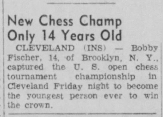 New Chess Champ Only 14 Years Old - New Chess Champ Only 14 Years Old CLEVELAND...