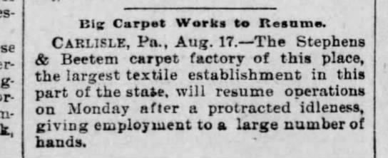 Beetem carpet 1894 starts - Havcr-ford; Long-aker, Nor-ristown; Cum-mings,...