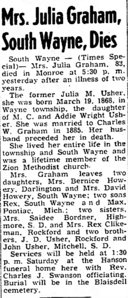 Julia Usher - Mrs. Julia Graham, South Wayne, Dies South...