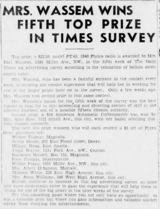 Kerns Dec 23, 1939 - MRS. WASSEM WINS FIFTH TOP PRIZE IN TIMES...