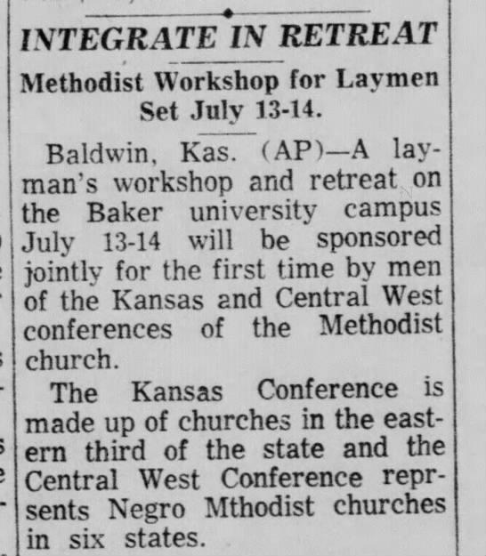 Methodist Laymen integrate  1963 - INTEGRATE IN RETREAT Methodist Workshop for...