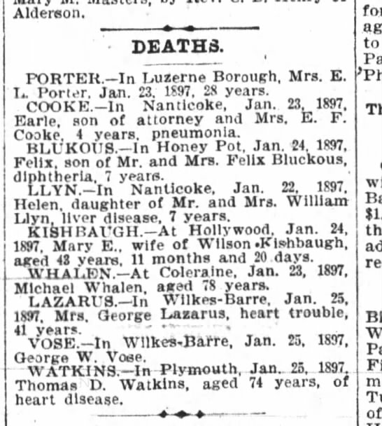 January 26, 1897 - Aluerson. DEATHS. PORTER. In Luzerne Borough,...