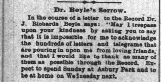 Dr. Boyle's Sorrow - Dr. Boyles Sorrow. Ia the eoorse of a Utter to...