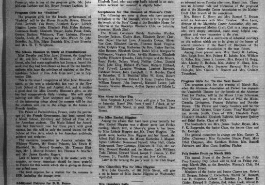 bkn life mar 22 1924 p10 week in society lisbeth - Pomeroy, who is one of the program girls; Mr....