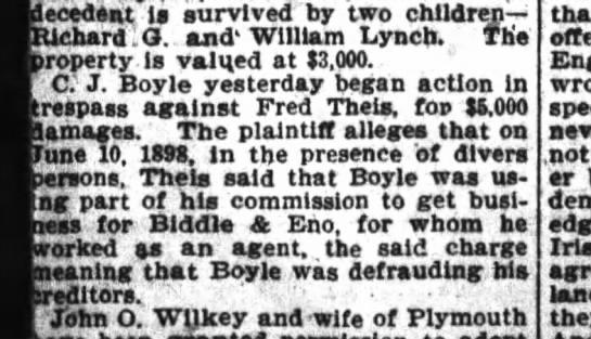 C.J Boyle in legal action - decedent Is survived by two children- children-...