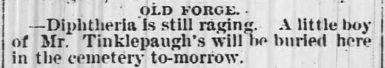 "Boy of Mr. Tinklepaugh will be buried tomorrow 1 Mar 1878 - OLD FORGE. - "" i Diphtherial still raging. A..."