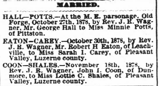 Marriages from 21 Nov 1878 including Hall-Potts, Eaton-Carey and Coon-Shales - MABJUKD. At the M. E. parsonage. Old 1878, by...