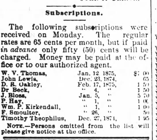 John Lewis Daily Record of the Times, Wilkes-Barre, PA Subscription 29 Dec 1874 - Subscriptions. ine louowmg suosenptions were...
