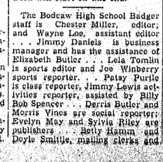Winberry HS 27 Nov 1956 p1 - The Bodcaw High School Badger staff is Chester...