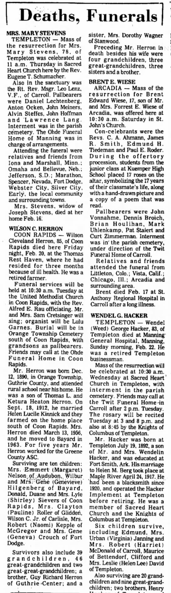 Obit in Carrol Daily Times Herald, IA on Wilson C Herron of Coon Rapids 23 Feb 1976