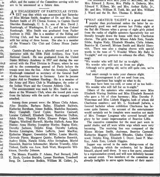 bkn life april 17 1926 p12 - in Chair- Miss Grea-' Miss and y Le- Le- -Baron...