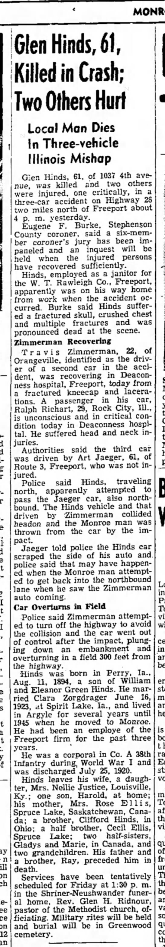Zorgdrager-Hinds crash 1965 - MONROE, on Glen Hinds, 61, Killed in Crash; Two...