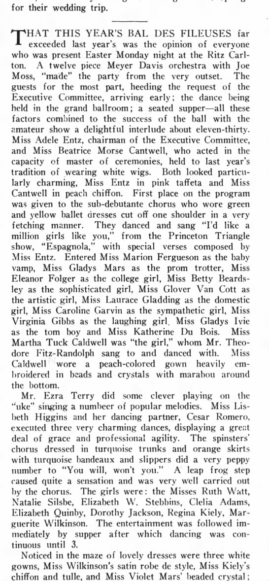 bkn life april 23 1927 p11 cesar romero - for their wedding trip. npHAT THIS YEAR'S BAL...