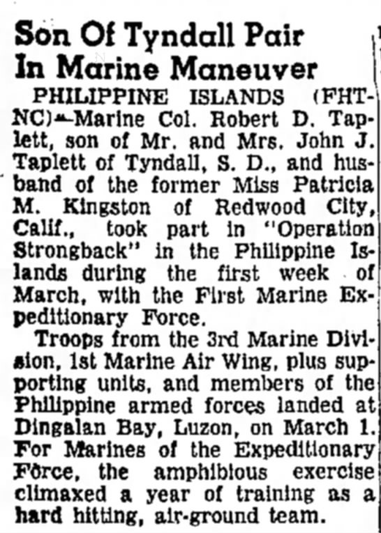 """Philippine """"Operation Strongback"""" - Son Of Tyndall Pair In Marine Maneuver..."""