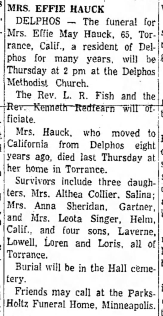 Effie Hauck obit