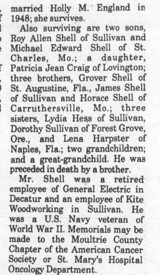 "part 2 Roy  Shell obit Mar 1990 Ill - married Holly M. "" England in 1948; she..."