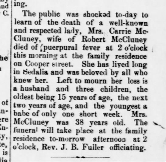 Carrie Lain McCluney Dies 5 Mar 1889 - and C. ot is morning. The public was shocked...