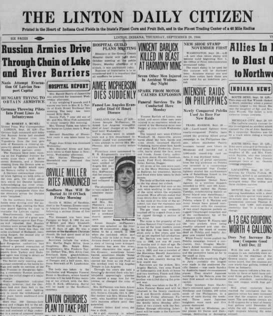 Mine explosion - THE LINTON DAILY CITIZEN Printed in the Heart...