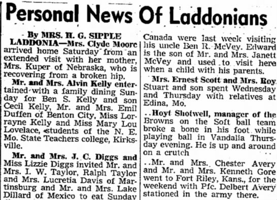 Personal News Of Laddonians - Personal News Of Laddonians By MRS. H. G....