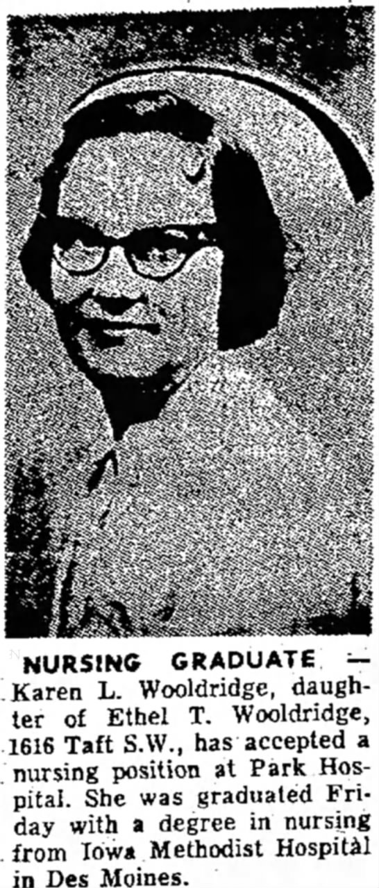 Globe Gazette, Sept. 4, 1959, Page 8 - NURSING GRADUATE — Karen L. Wooldridge,...