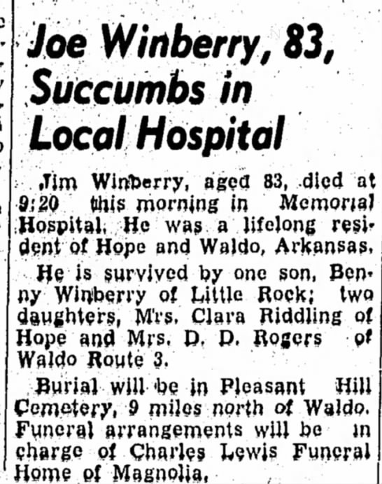 29 Mar 1957 Hope Star p1 Joe Winberry obit - Joe Winberry, 83, Succumbs in Local Hospital :...