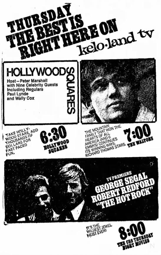 KELO-TV 9-13-1973 - HOLLYWOOD Host -Peter Marshall with Nine...
