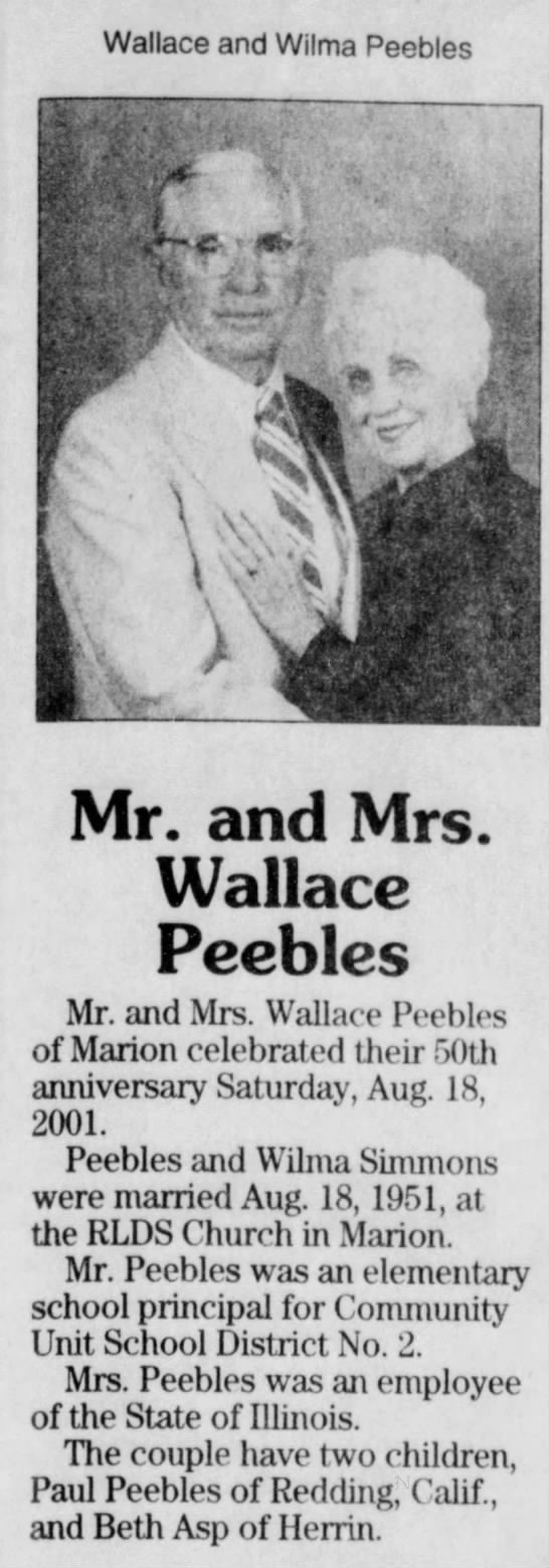 Wallace and Wilma Peebles 50th aniv - Wallace and Wilma Peebles f Mr. and Mrs....