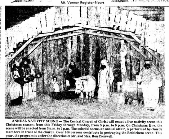 Dec. 19, 1973--Ron and Joyce Direct the Live Nativity Scene - Mt. Vernon Register-News ANNUAL NATIVITY SCENE...