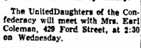 Coleman, Mrs. Earl, UDC meeting announcement, 1 Jan 1961, Lake Charles-American Press - The UnitcdDaughters of the Confederacy...