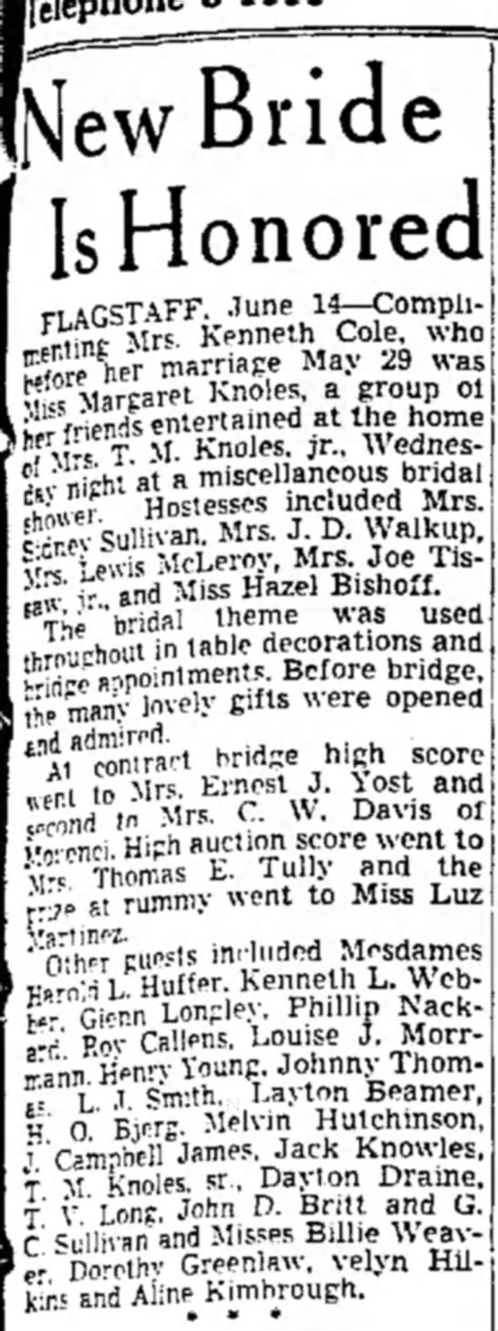 Margaret Knoles 15 June 1940 Arizona - [New Bride Is Honored her marriage May 29 was|...