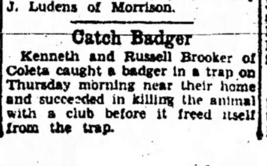 Kenneth and Russell - J. Ludens of Morrison. Catch Badger Kenneth and...