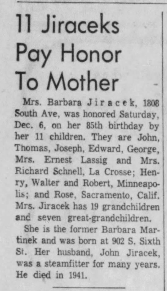 85th BDay - Barabara Martinek Jiracek - ll Jiraceks Pay Honor To Mother Mrs. Barbara J...