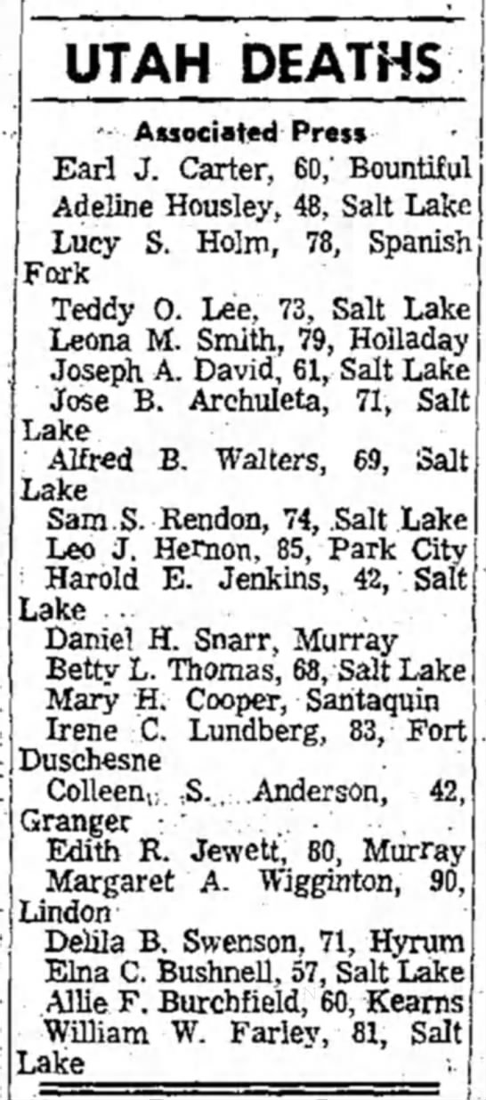 - UTAH DEATHS - Associated Press Earl J. Carter,...