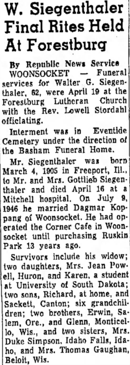 S - W. Siegenthaler Final Rites Held At Forestburg...