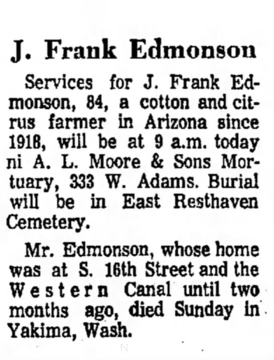 - Frank Edmonson Services for J. Frank Edmonson,...