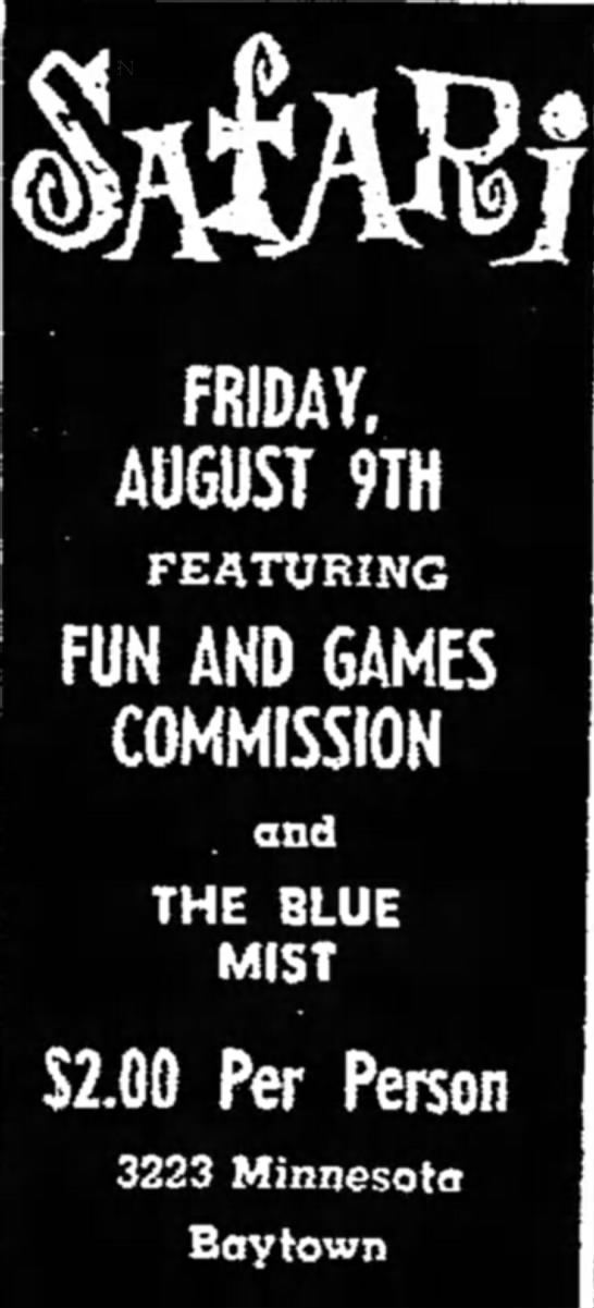 - FRIDAY, AUGUST 9TH FEATURING FUN AND GAMES...
