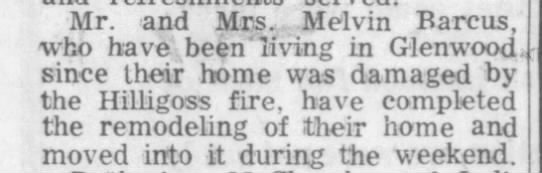 Granda & Papaw had fire - Mr. and Mrs. Melvin Barcus, who have been...