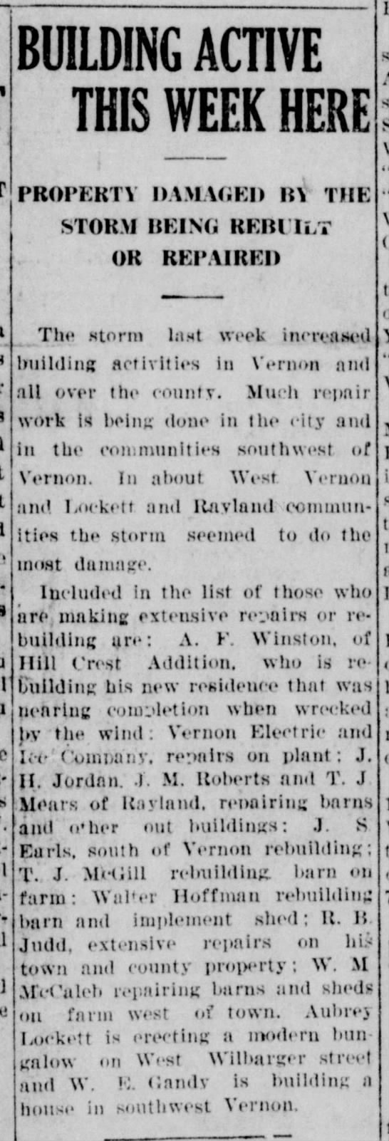 The Vernon Record, TX, 4 Apr 1924 p1 c3 - BUILDING ACTIVE THIS WEEK HERE PROPERTY DAMAGED...