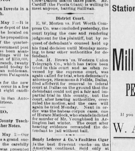 Horace Matlock case - Invcntii In a May It la depot of tlio bu...