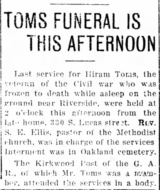 Hiram Toms obit - knev/ of TOMS FUNERAL IS THIS AFTERNOON SON,...