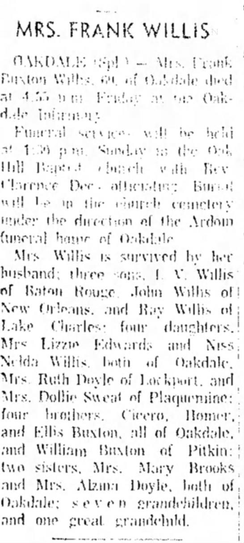Laura Buxton Willis Obituary - MRS. FRANK WILLIS n.\Kt).M,i-: 'Sp! ' Mi:-....