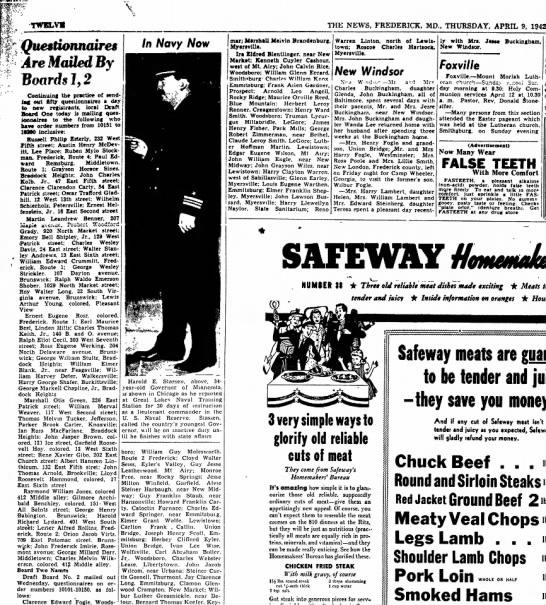 Draft Board No. 2 Ivan Lee Wise 1942 - TWELVM THE NEWS, FREDERICK, MD., THURSDAY,...