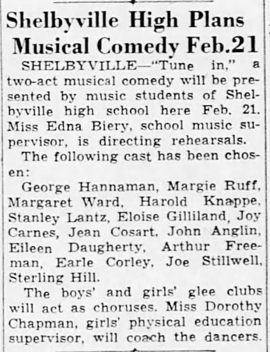 Earle - Shelbyville High Plans Musical Comedy Feb.21...