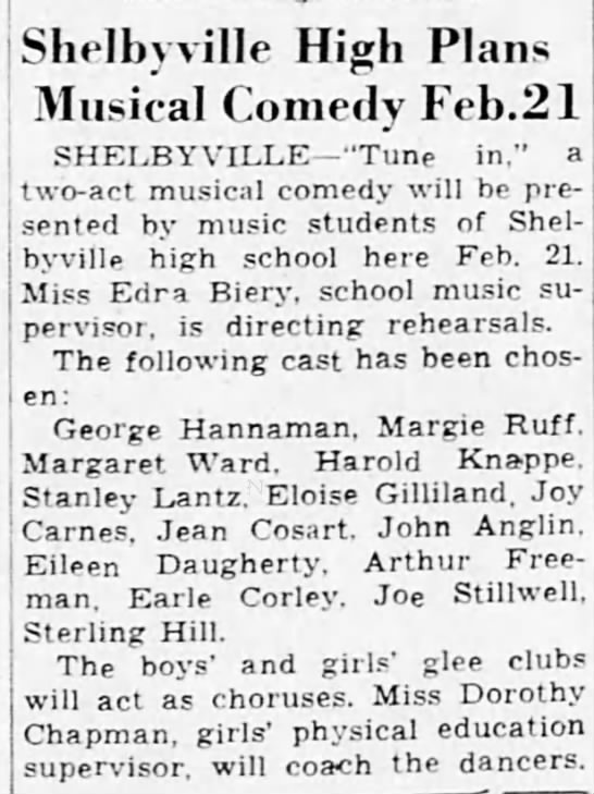 Earle Corley - Shelbyville High Plans Musical Comedy Feb.21...