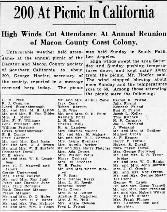 Harry F Duvall, Illinois, 1935 - . . 200 At Picnic High Winds Cut Attendance At...