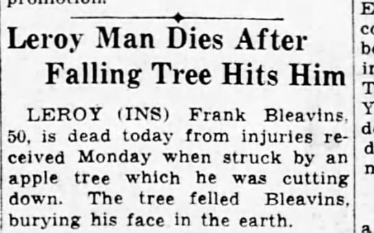 - Leroy Man Dies After Falling Tree Hits Him...