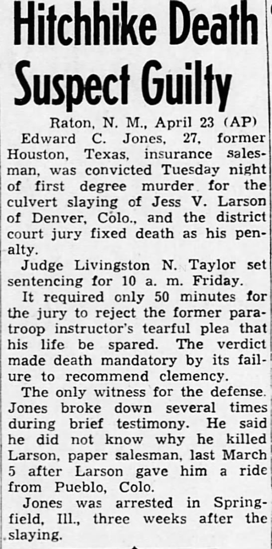 HH 1947 - HH SLAYING OF LARSON NM - Hitchhike Death Suspect Guilty Raton, N. M.,...