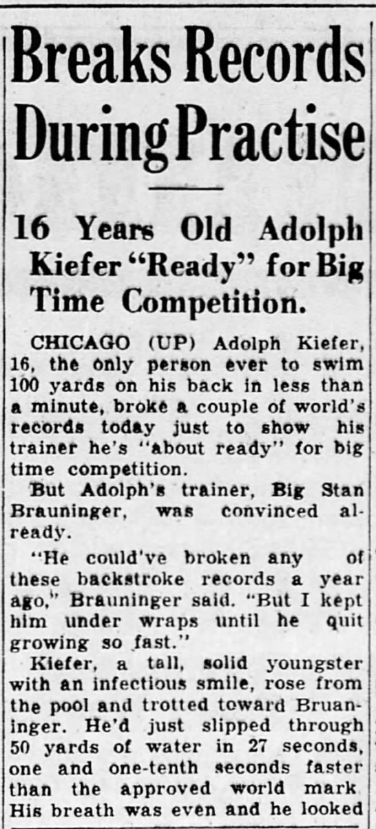 Kiefer only man to break 1 minute in 100 backstroke - Breaks Records DuringPractise 16 Years Old...