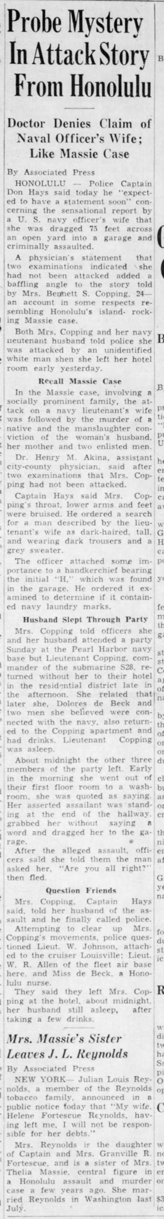 Story about Copping case 1937 Decatur Daily Review - War!InAttackStory laugh-t immediate-r,i i ;...
