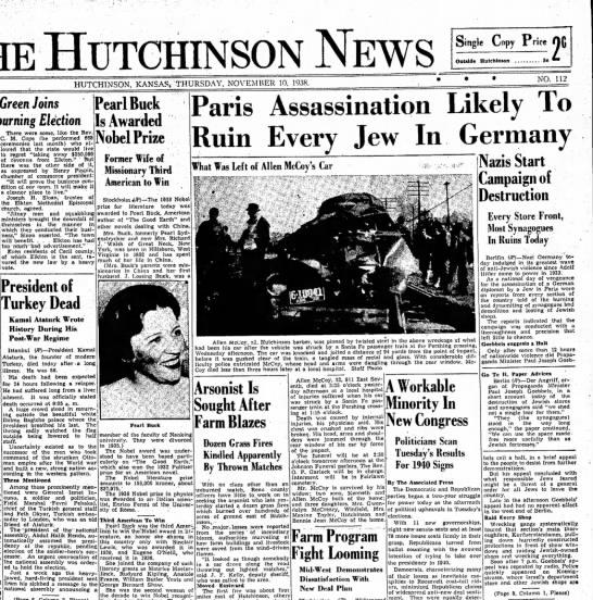 Hutchinson Kansas News11/10/38 page 1 - HUTCHINSON NEWS Single Copy Price (jfi Outside...